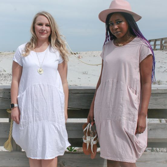 white and pink linen dress