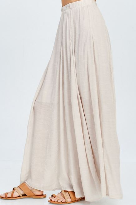 Flowy Champagne Long Skirt