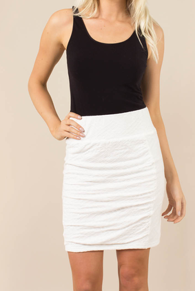 Noelle- Body Esteem Scrunch Skirt in White (2)
