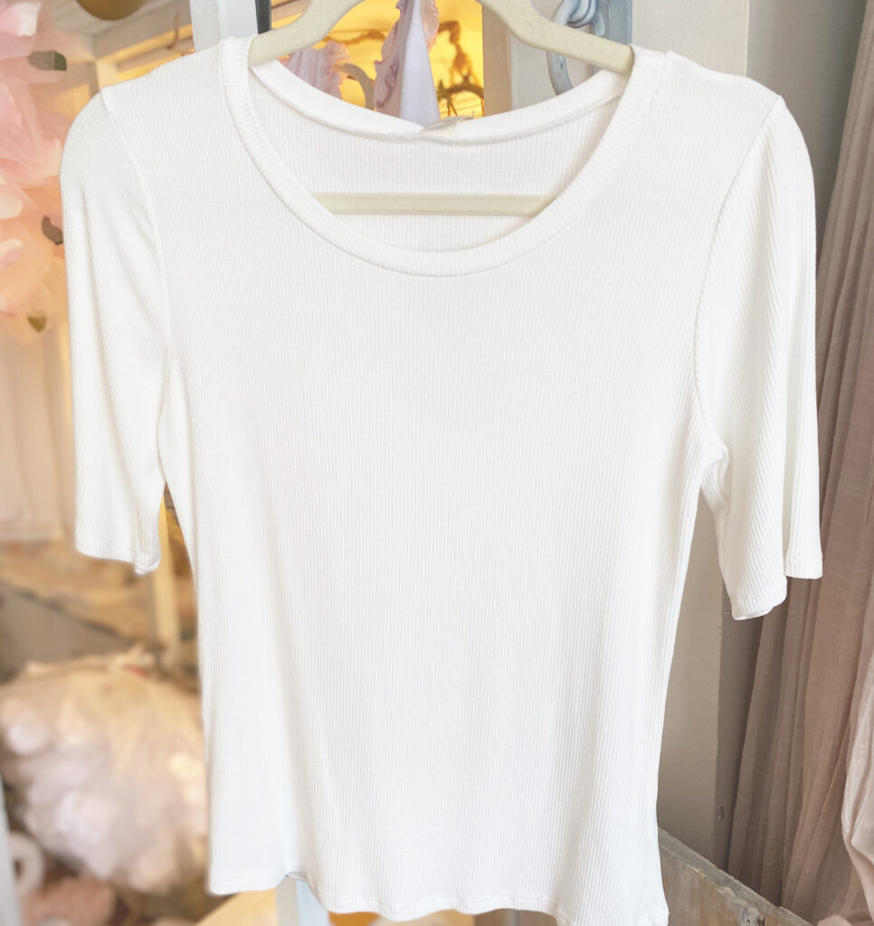 Paper Crane White Ribbed Top