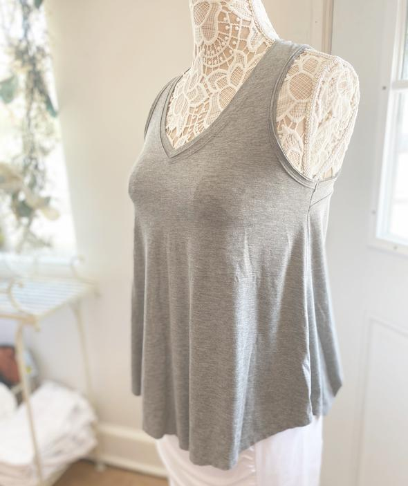 Survival Heather Grey Vneck Tank