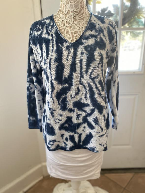Survival Tie-Dye Blue and White VNeck Sweater
