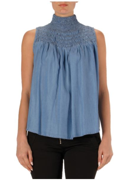 Elan Denim Smocked Top