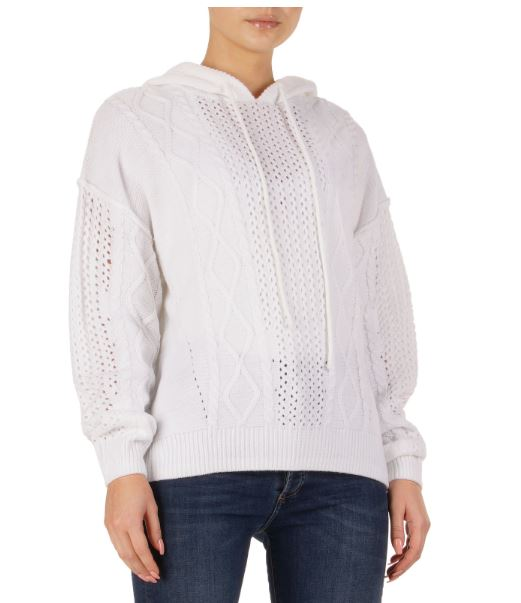 Elan Sweater with Hoodie White