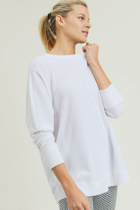 MonoBWaffle Ribbed Roundneck Pullover in White