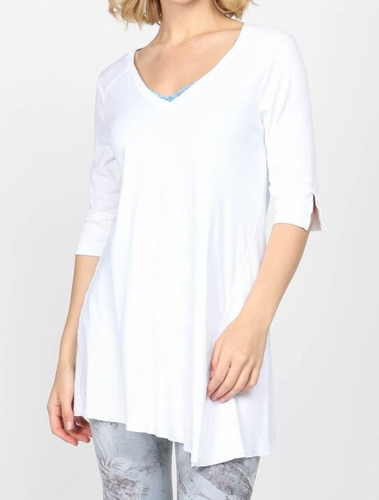 mrena vnck short sleeve asymmetrical tunic with slit front