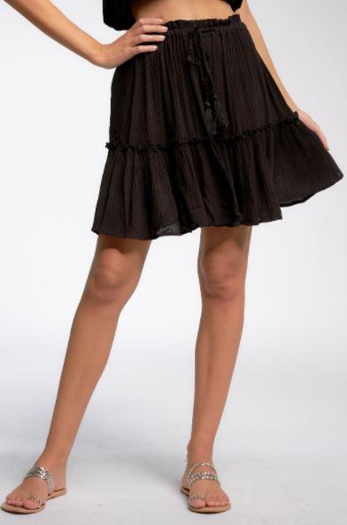 elan skirt with ruffles black