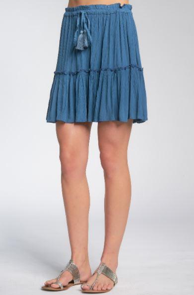 elan skirt with ruffles denim blue 2