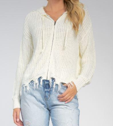 elan white sweater with zipper